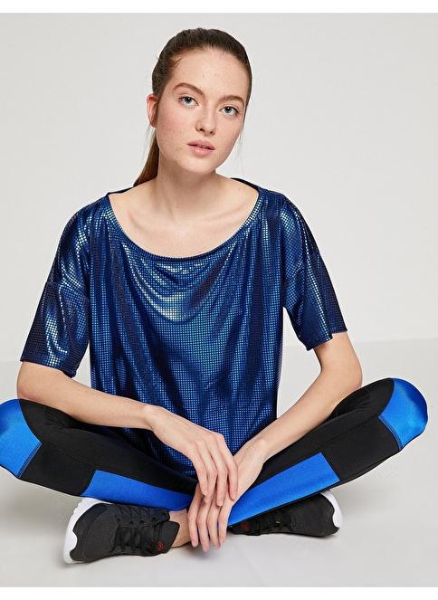 Koton File Detaylı Kısa Tişört Mavi